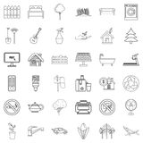 Faucet icons set, outline style Royalty Free Stock Images