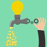 Faucet Idea process to be money Stock Photo