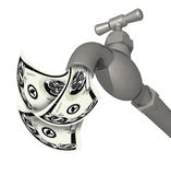 Faucet with money flowing out Stock Image