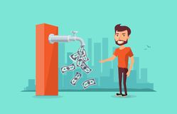 Faucet Passive Income Money Flowing to Man. A faucet on the ATM machine is dripping open money dollar bills to a smiling man. Passive income concept. Flat vector Royalty Free Stock Photos
