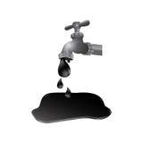 Faucet with petroleum drop contamination. Illustration design Stock Images
