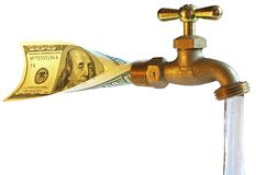 Faucet, processando dólares na água Fotos de Stock Royalty Free