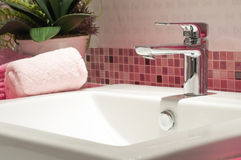 Faucet with sink basin Royalty Free Stock Photography