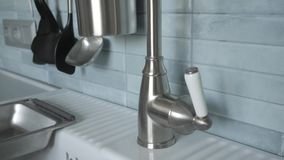 Kitchen sink and faucet stock video