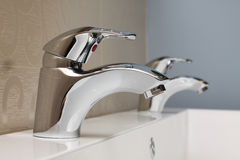 Faucet and sink - modern bathroom interior Stock Photo