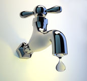 Faucet tap. Illustration of a dripping faucet tap - rendered in 3d Royalty Free Stock Photos