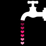 Faucet throwing hearts instead water on black background Royalty Free Stock Photography