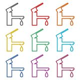 Faucet vector icon, Vector tap symbol, color icons set vector illustration