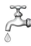 Faucet for water and drop. Illustration of faucet for water and a drop of water Stock Photography