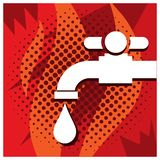 Faucet and water droplets on the red background. EPS file available. see more images related Vector Illustration
