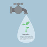 Faucet and water drops with small plant, Infographics Stock Image