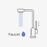 Faucet water tap thin line icon. Vector illustration for web or infographics. Equipment for bathroom or kitchen Royalty Free Stock Images