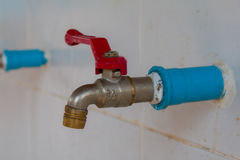 Faucet for watering H2o Water from faucet. Water valve Royalty Free Stock Images