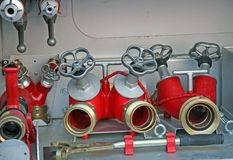 Faucets of firefighters to connect pumps and hoses Stock Images