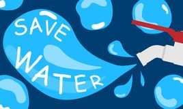 Faucets saving water concept banner flat. N Royalty Free Stock Images
