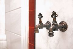 Faucets in turkish hammam. Close up stock image