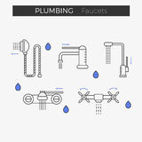 Faucets water tap thin line icons set. Shower included. Vector illustration for web or infographics. Equipment for bathroom or kitchen stock illustration