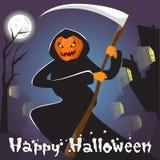 Faucheuse avec la carte de voeux heureuse de bannière de Halloween de faux de prise de visage de potiron Image stock