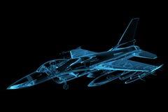 Faucon F-16 transparent rendu de rayon X bleu Photo libre de droits