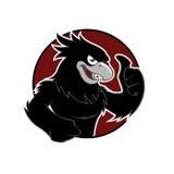 Faucon noir en cercle rouge Photos libres de droits