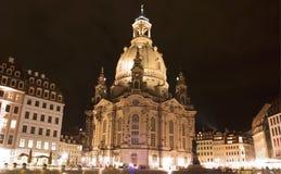 Fauenkirche在德累斯顿,德国 库存图片