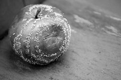 Fauler Apfel auf einer Bank Stockfotos