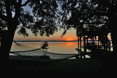 Fauler Fluss-Sonnenuntergang Lizenzfreie Stockfotografie