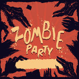 Fauler Zombie übergibt Plakat-Partei-Plakat, Vektor-Illustration Lizenzfreie Stockfotografie
