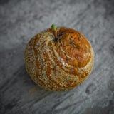 Faules Apple, das auf einem grauen Hintergrund liegt Gute und schlechte Äpfel, natürliche saisonalszene Beißende faule Quetschung stockfoto