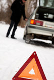 Fault car in the winter. The young guys fault car in the winter Stock Photography