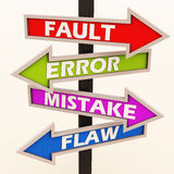 Fault error mistake and flaws. Sign board showing in different directions with the labels fault error mistake flaws stock illustration
