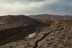 Faults of the earth crust, consequence of the earthquake. Landscape Stock Image