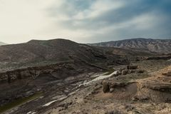 Faults of the earth crust, consequence of the earthquake. Landscape royalty free stock photos