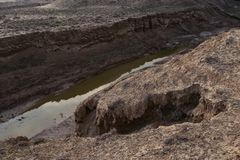 Faults of the earth crust, consequence of the earthquake. Landscape stock photo