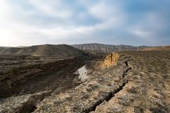 Faults of the earth crust, consequence of the earthquake. Landscape stock photos