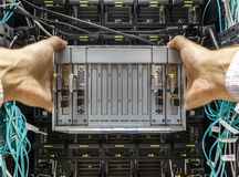 Faulty blade server. Replacement component of faulty blade server in chassis, the platform virtualization in the data center server rack Royalty Free Stock Photos