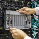 Faulty blade server. Replacement component of faulty blade server in chassis, the platform virtualization in the data center server rack Stock Photography