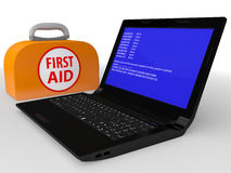 Faulty computer with system error. And the first-aid set  on a white background Stock Photos
