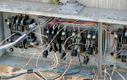 Electrical Hazard wiring. royalty free stock photos