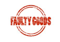Faulty goods Red vintage rubber stamp isolated on white background Stock Photos