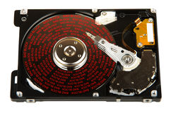 Faulty hard disk with bad blocks on surface on white Royalty Free Stock Photography