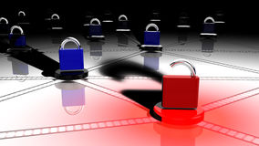 The faulty node of a network. Network with small platforms and padlocks on top where one red lock is open on a node 3D illustration security concept Stock Photos