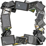 Faulty personal  devices photo frame. Square photo frame made from  the broken unusable faulty personal electronic devices and gadgets. Mass production. Isolated Stock Images