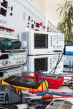 Faulty solar regulator and checking using an oscilloscopes Stock Photography