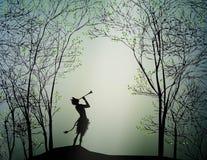 Faun bawić się w wiosna lesie, royalty ilustracja