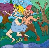 Faun och nymf Vektor Illustrationer