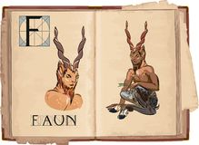 Faun. Open book with letter F with Faun Royalty Free Stock Image
