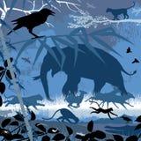 Fauna asiática en azul Foto de archivo libre de regalías