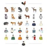 Fauna, Beruf, Arbeit und andere Netzikone in der Karikaturart lizenzfreie abbildung