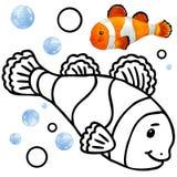 Fauna della barriera corallina del libro da colorare Illustrazione del pesce del fumetto per spettacolo del bambino Fotografia Stock